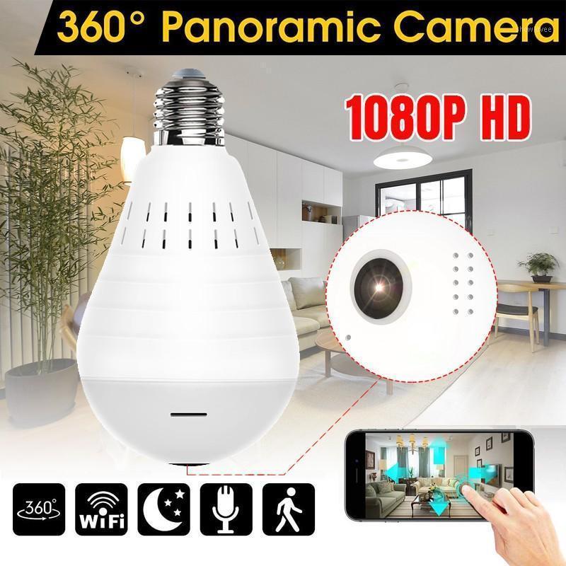 WiFi كاميرا بانورامية 360 درجة الصمام ضوء اللاسلكية الأمن المنزلية فيش لمبة مصباح الإصدار ليلة اتجاهين الصوت 1