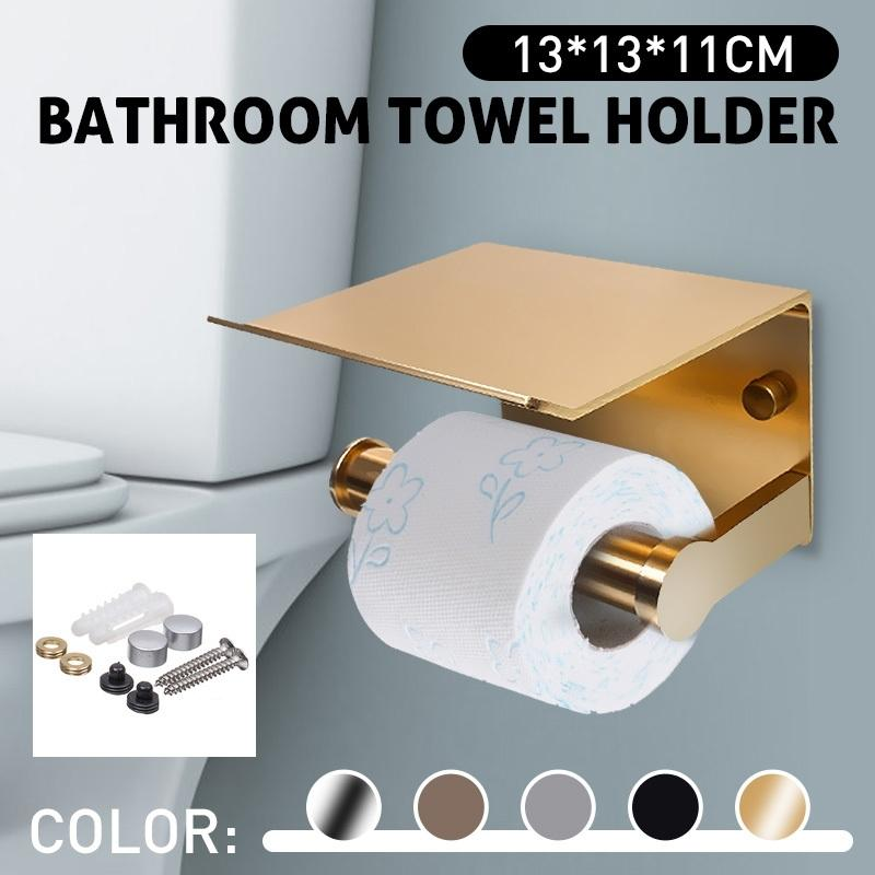 Tenedor de papel Accesorios de baño Aseo WC Titular de papel Titular de teléfono móvil con estante Toalla Rack Black Y200108