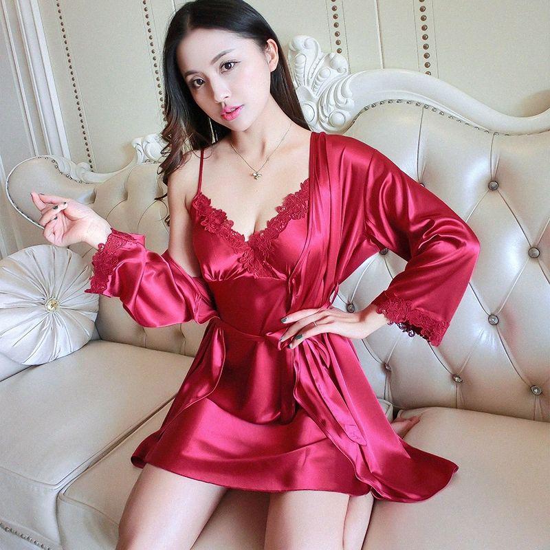 Lady Robe Sexy Pijamas Lace Nightgown estilo chinês do casamento da noiva Intimate Lingerie solto Kimono Banho cetim Início Roupa s3xV #
