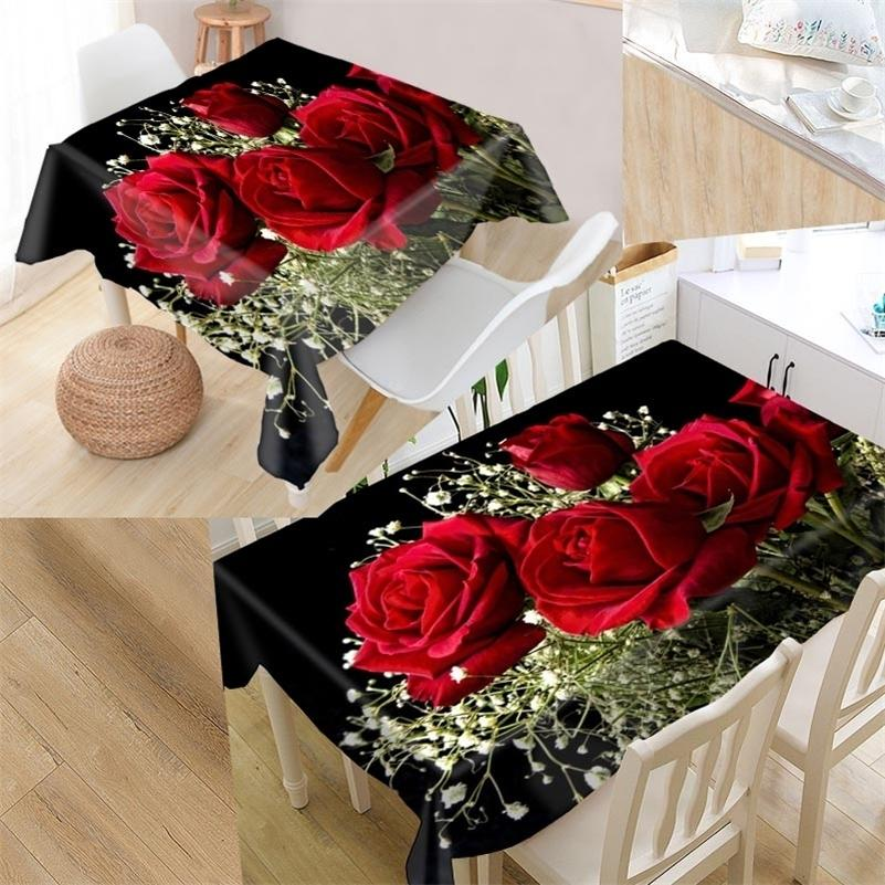 Пользовательские цветочные розовые столовые ткани Оксфорд Печать прямоугольный водонепроницаемый маслозащитный столик крышка квадратный свадьба скатерть LJ201216