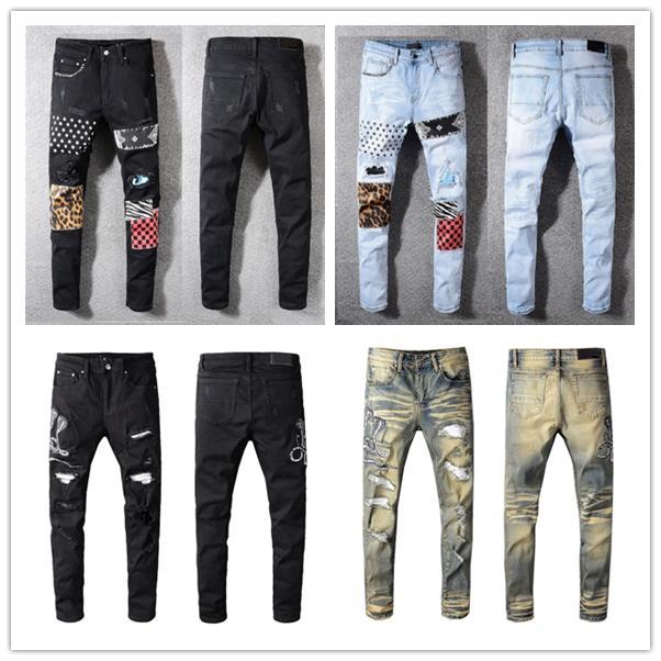 2021 Moda Skinny Mens Jeans Straight Magro Elástico Jean Homens Casuais Motociclista Masculino Estiramento Denim Calças Clássicas Calças Jeans Amir I Tamanho 28-40