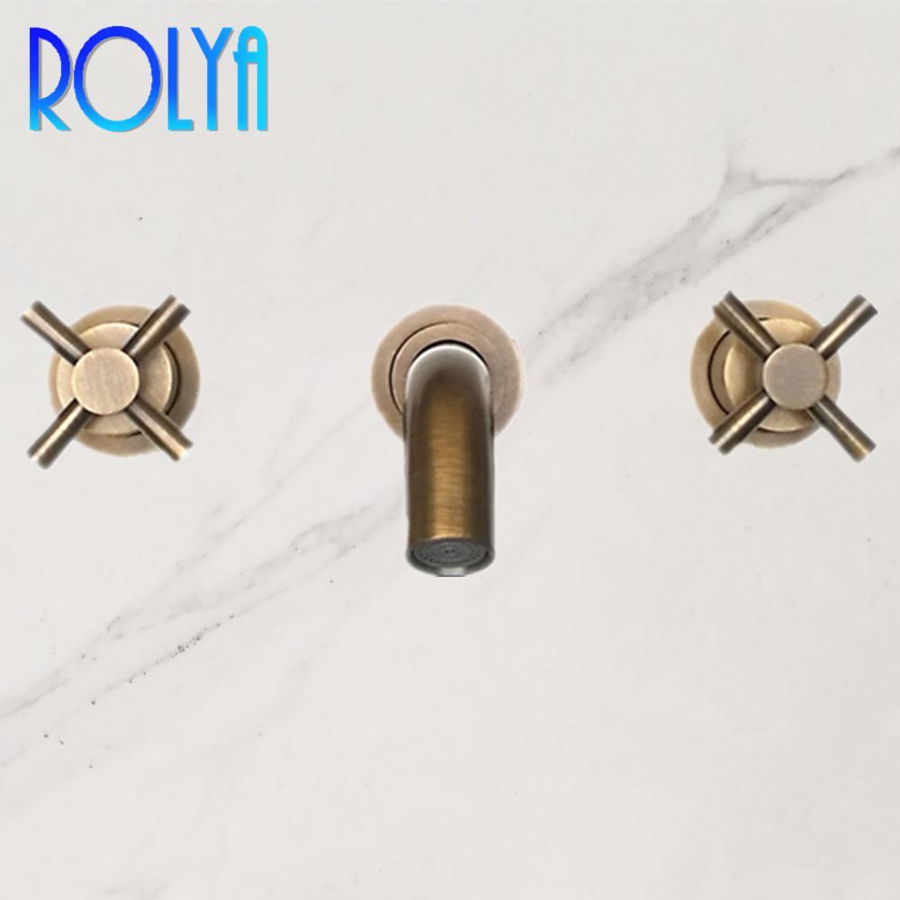 Rolya Neue Ankunft Luxuriöse Feststoff Messing Drei Löcher Duale Griffe Wandmontage Antikes Badezimmer Waschbecken Wasserhahn Mischbatterie
