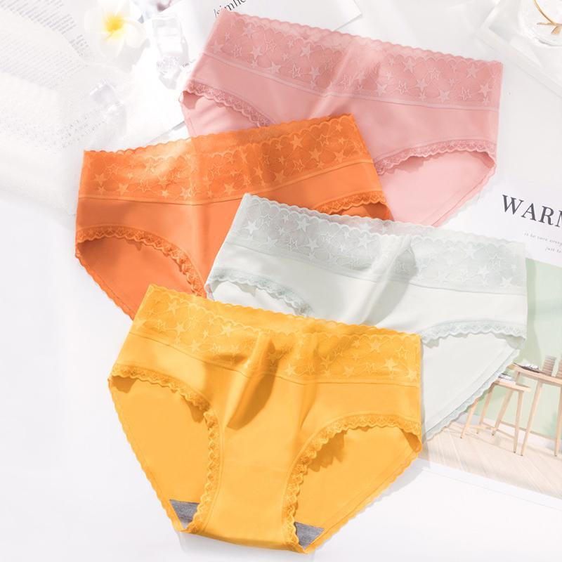 2pcs / lot Femmes sexy culotte en dentelle de coton sans coutures Slips mi taille antibactériennes Pantalon Confort Underpants Intimates #F