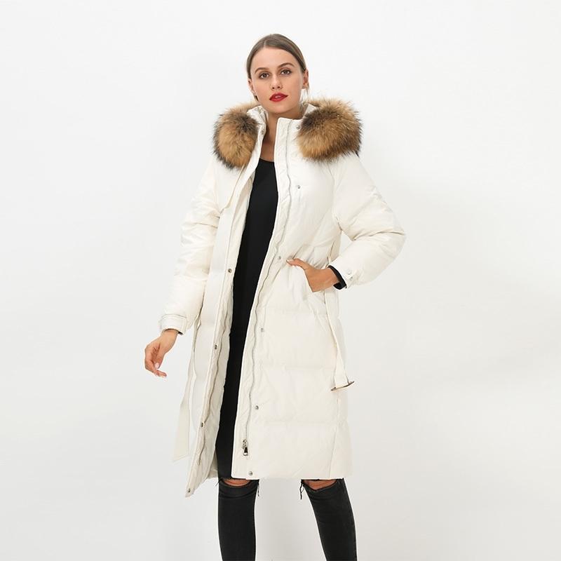 Enorme real colar de pele natural Novas mulheres inverno 90% branco pato para baixo jaqueta com cinto feminino espessa À prova de vento com capuz casaco y201026