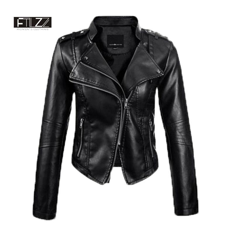 Donne Faux Leather Jacket Primavera Autunno Slim Chiodo nero delle signore Rivet Moto Pvs cappotti corti Outerwear 201022