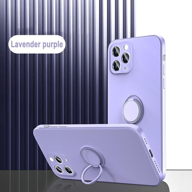 Coque douce de protection de silicone liquide de bord droit Couverture pour iPhone 12/11 Pro Max XS XR avec porte-support magnétique