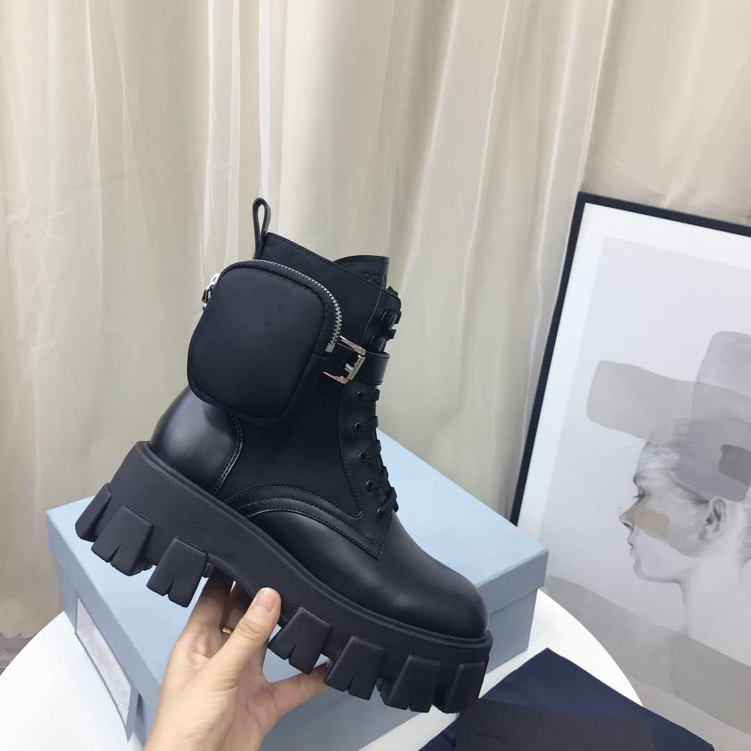 Prada Combate las mujeres diseñadores Rois botines de nylon de arranque y Martin botas de invierno diseñadores Martin bouch nylon tobillo esguince en el cuadro adjunto
