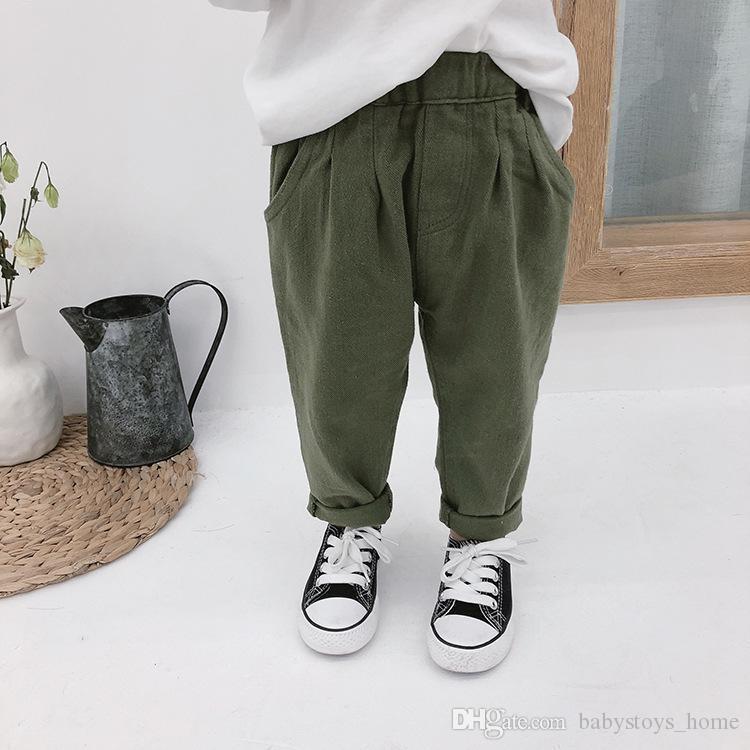 Wiosna Jesień Chłopcy Dziewczęta 3 Kolory Spodnie Cargo Dzieci Dorywczo Dopasuj Spodnie 1-7y