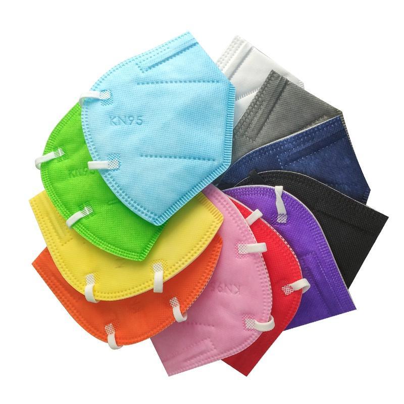 Masque de visage usine 95% Filtrer masque coloré Masque activé respiratoire respiratoire respirateur 5 couches concepteur masque de visage 11 couleurs
