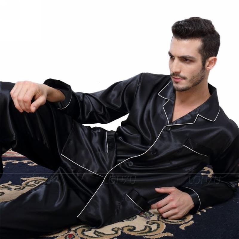 Mens Soie Satin Pajamas Pyjamas Ensemble de Sleelewear Set Loungewear U.S. S, M, L, XL, XXL, XXXL, 4XL__FITS Toutes les saisons 201125