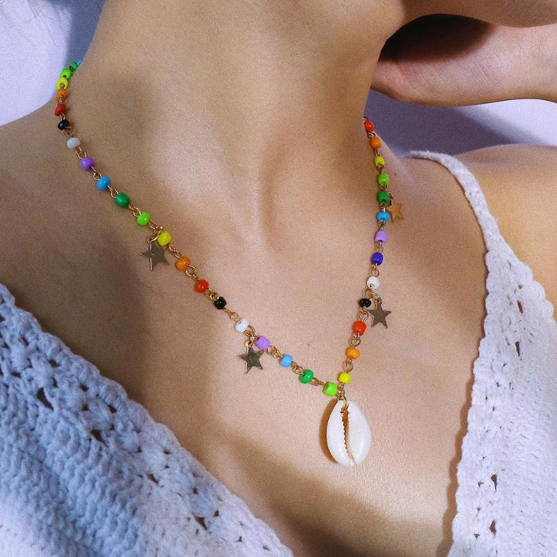 Collar colgante de estrella de concha de moda para mujer Vintage étnico bohemio glamour creativo colorido gargantillo collar joyería nuevo regalo