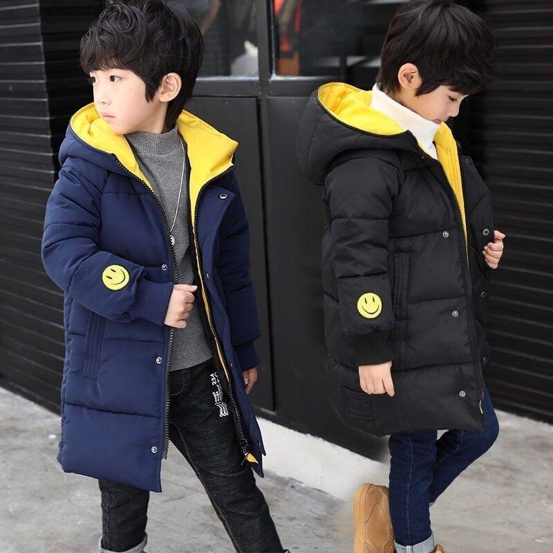Jacke New Hooded Winter Jacken Mode Warme Parkas für Jugendliche Jungen verdicken Mid-Long Mantel Kinder Kleidung 201117