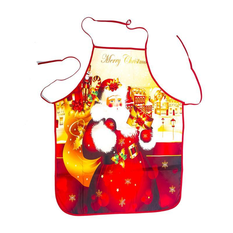 1PC Rosso Natale Grembiuli adulti Babbo Natale Grembiuli Donne Uomini Dinner Party Decor Home Kitchen Cooking cottura a secco Grembiule QA 267