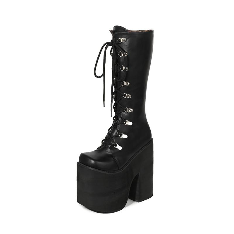 16cm Heel Motorcycle Boots Black Knee High Boots Punk Cosplay Fashion Goth Wedges Platform High Heels Women Shoes Y200723