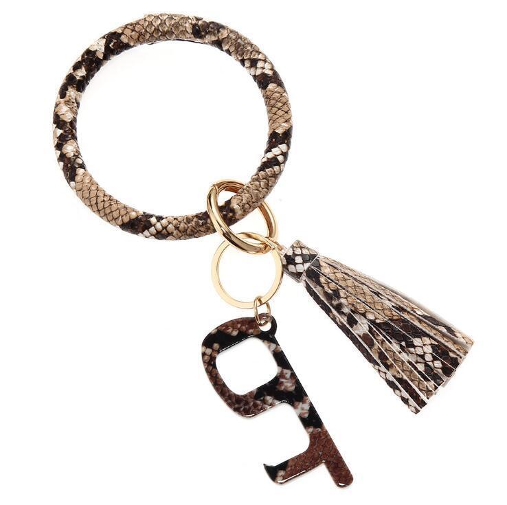 PU Tassels Bracelet Keychain Leopard Sunflower Printed Acrylic Contactless Door Opener Handheld Non-touch EDC Door Opener Key Ring HHA1392