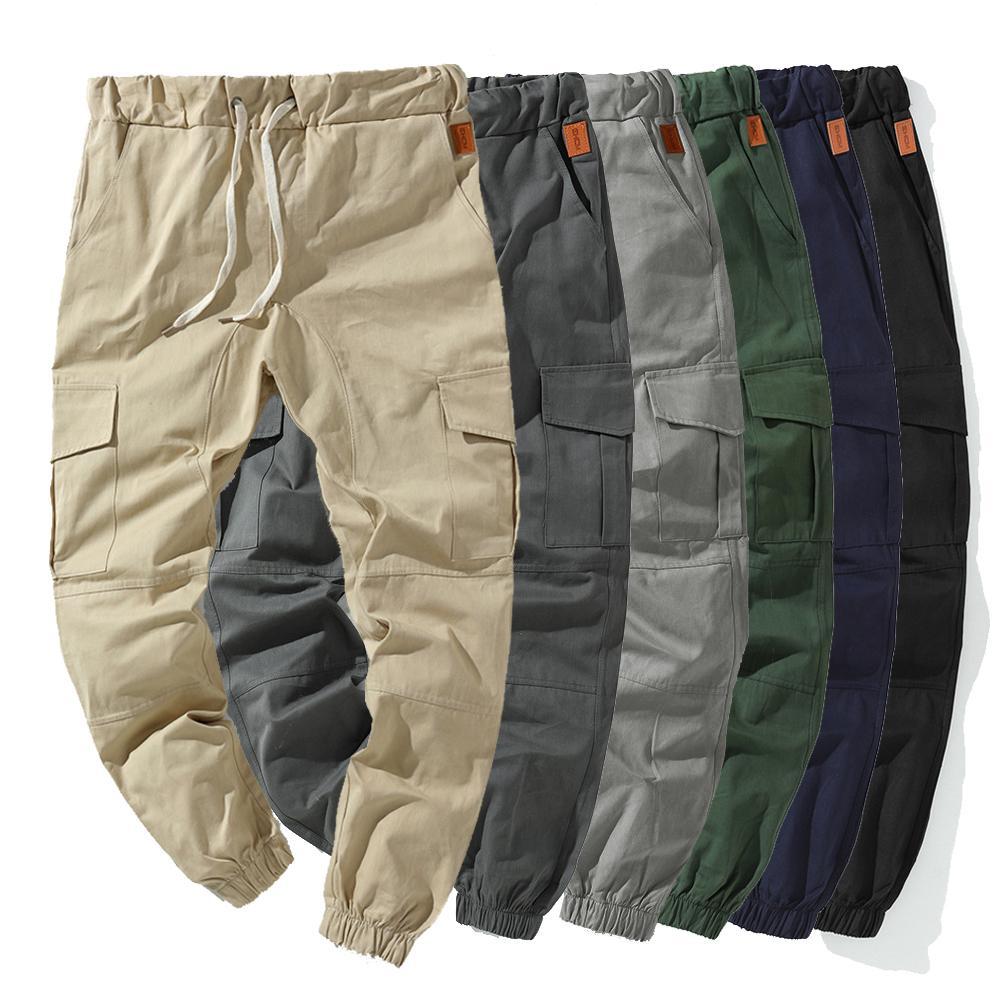 Calças Streetwear Homens Sweatpants Moda Carga Homens elástico na cintura Calças Hip Hip Harem Pants Mens multi bolso da calça de trabalho 201006
