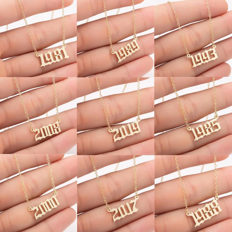 Personnalité de mode en acier inoxydable Année d'anniversaire Nombre Colliers pour femmes Creative cadeau d'anniversaire 1980-2020