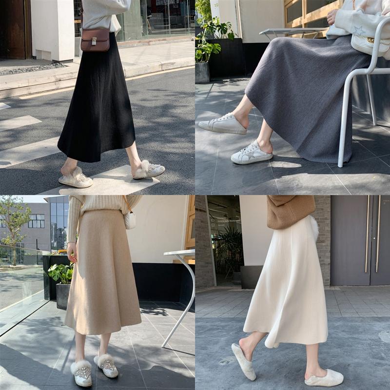 7rUIQ Jastie Boho Maxi Skirt Slimming Crotch Cover long Knitting satin white Skirt full skirt Floral Print Skirts Elastic Waist Casual