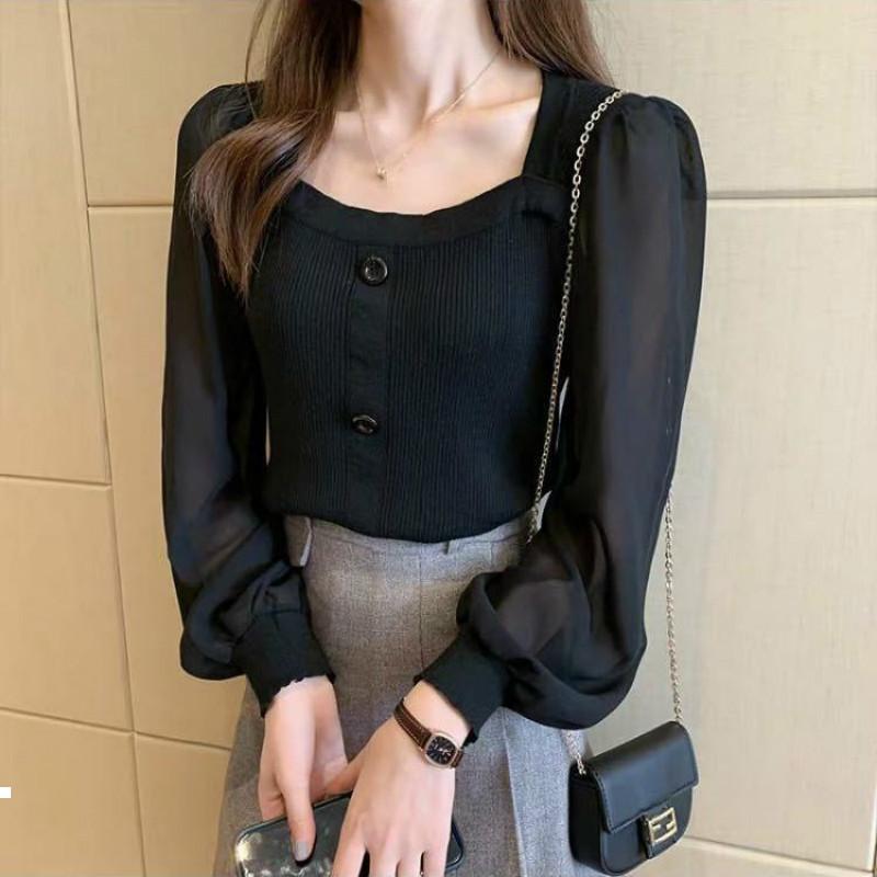 새로운 봄 2021 액체 스레드 빗자루 여성 셔츠 고급 스퀘어 넥 긴 소매 짧은 스웨터 Y519 53PB