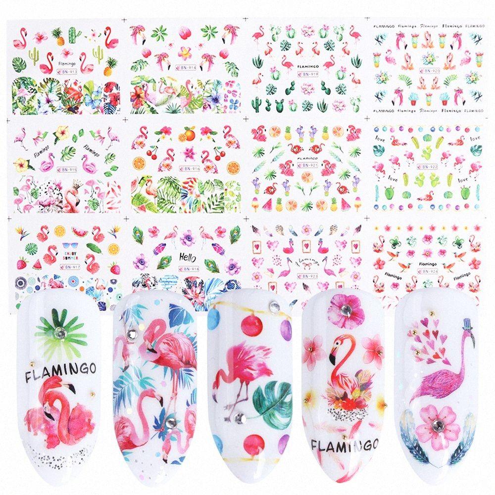 Flamingo prego Wraps Água Stickers Flower Design prego Transferência Folha 3D Adhesive Dicas Água Slider Art Acessório SABN913 924 unha vara Dhi3 #
