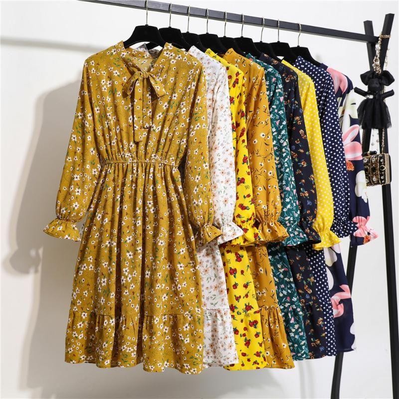 Sevimli Pembe Elbise 2020 Yaz Kadın Uzun Kollu Çiçek Baskı Boho Stil Plaj Şifon Sundress Casual Shift Es Vestido