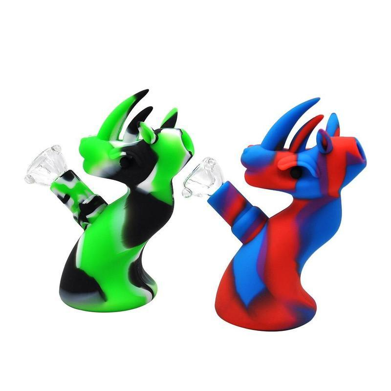 Bongs Silikonbong mit Glasschüssel Nette Dinosaurierform 5 Zoll verschiedene Farben Tragbare Glas Bong DAB-Rigg