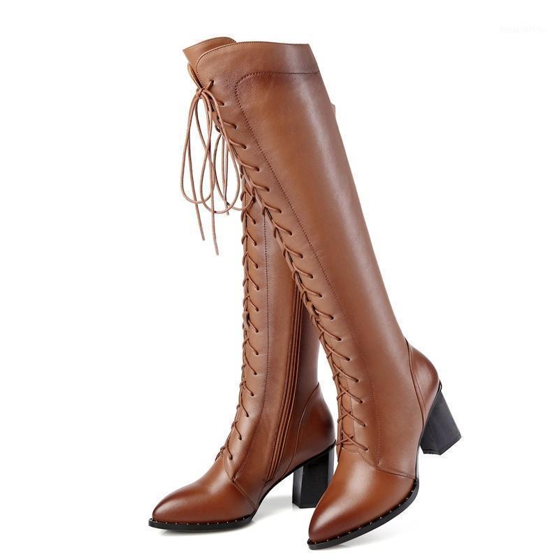 الأحذية 2021 ماركة جلد البقر أشار تو البريدي عبر ربط أحذية امرأة عارضة حزب الشتاء الربيع الركبة عالية الحجم 34-421