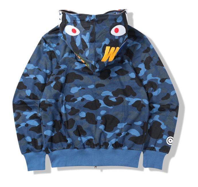 Erkek Kadın Aşk Sportwear Coat Eşofman Fermuar Polar Kazak WGM Nakış Köpekbalığı Siyah Hip Hop Hoodie Erkekler Köpekbalığı Ağız Kamuflaj Ceket