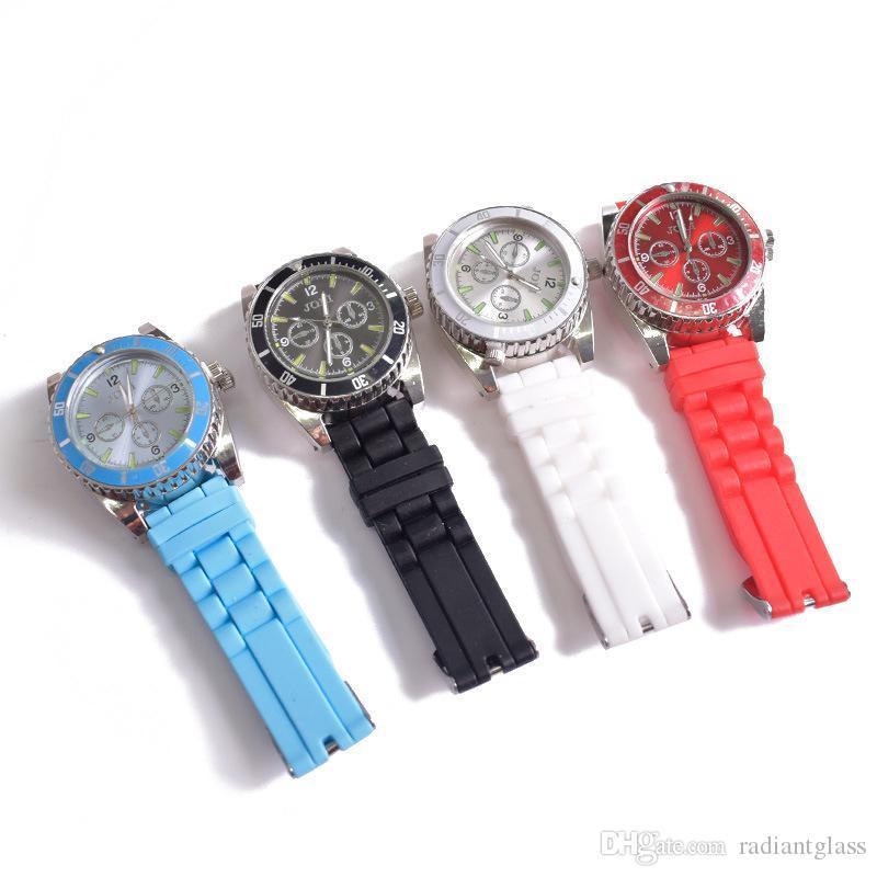 Outros acessórios para fumar relógio design liga de zinco 42mm metal com 4 cores especiarias pólen criativo mão muller crusher erva