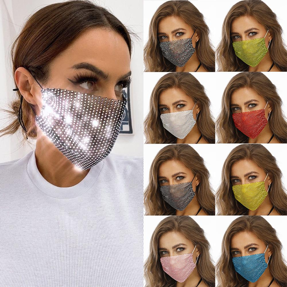 Masque 2020 Mode visage Décor Bijoux élastique strass Masques Mode Sparkly Crytal Masque Party Bandana cadeau