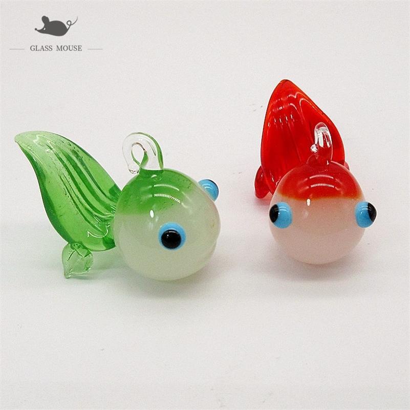 Custom Jade color Handmade Murano glass Goldfish ornament Pendant Home Aquarium fish tank Christmas decor Mini animal Figurine Y201020