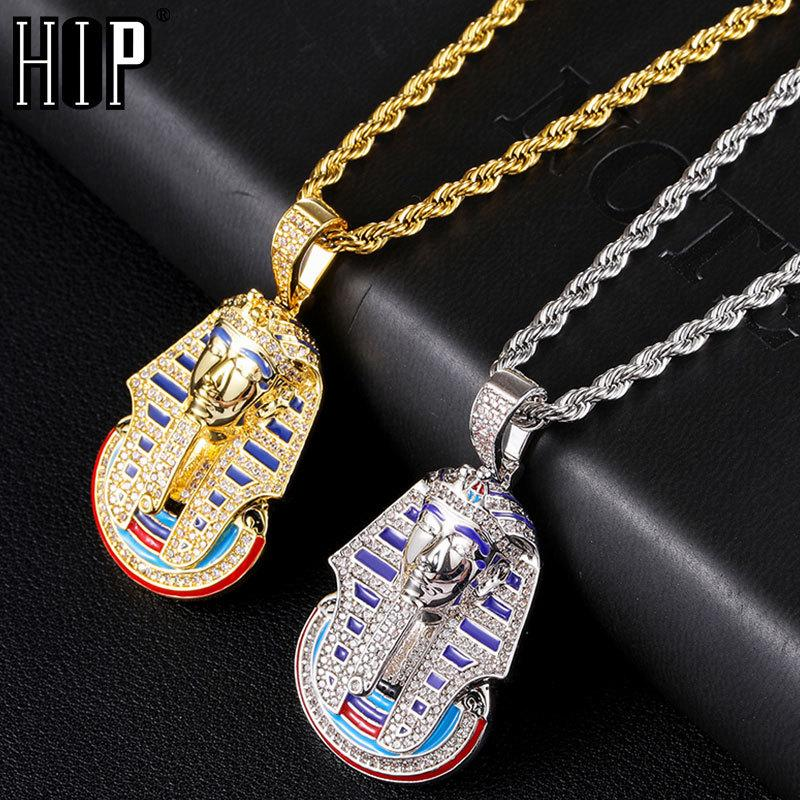 Hip Hop Iced Out Bling Cubic Zirconia Egyptian Pharaoh Necklaces & Pendants For Men Rapper Jewelry With Solid BackQ0115