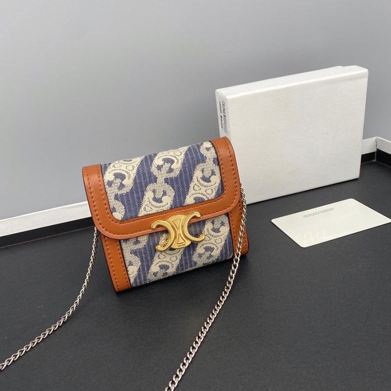 Luxurys Designer monedero de cuero genuino Crossbody Bolso Bolsos de mujer Bolsos de señora Moda Triomphe Bolsas de tarjetas de lona con caja