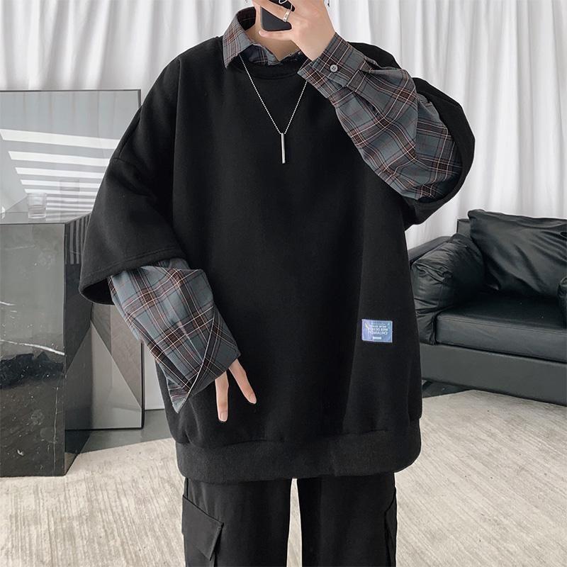 Мужские толстовки для толстовки корейский стиль толстовка повседневная свободная осень негабаритный хип-хоп Harajuku Streetwear Homem одежда DB60WY