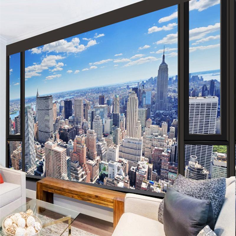 Пользовательские 3D фото обои Современная настенная живопись Городской пейзаж тисненные Гостиная Спальня ТВ Mural