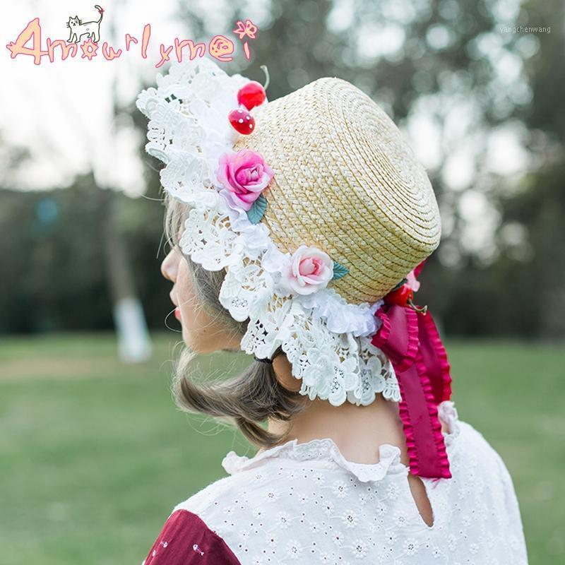 Giapponese stile mori ragazza dolce principessa lolita kawaii fiore pizzo arco cappello paglia estate spiaggia spiaggia cappello crapeu femininas1