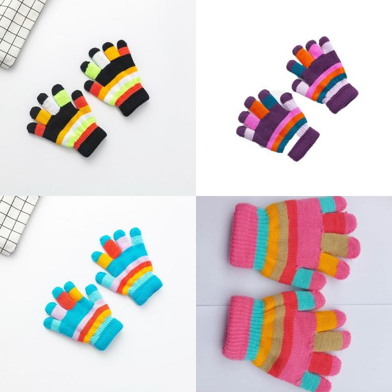 خمسة أصابع قفاز اللون الشريط الأطفال الدفء قفازات تريكو اليدويه رجل امرأة خريف وشتاء 1 75wy K2