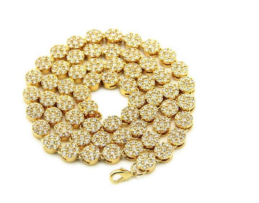 rodada única linha ouro 14K cadeia cubana cadeia banhado dos homens com piscando diamantes 30 polegadas colar de hip hop com diamantes de água