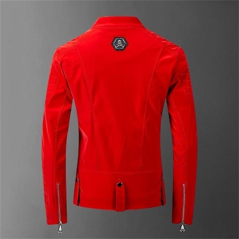 Schädel gebundene Lederrot Jacken Männer High Street Style Tallover Hals Streetwear Mens Jacken und Mäntel Casacas Para Hombre 201116