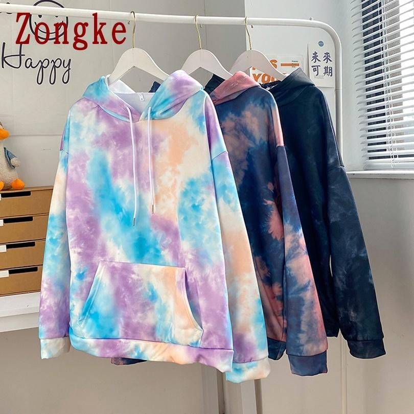Zongke 2020 الخريف عارضة التعادل صبغ هوديي الرجال الملابس البوليستر المتناثرة الهيب هوب البلوز الشارع الشارع الشارع اليابانية M-2XL A1109