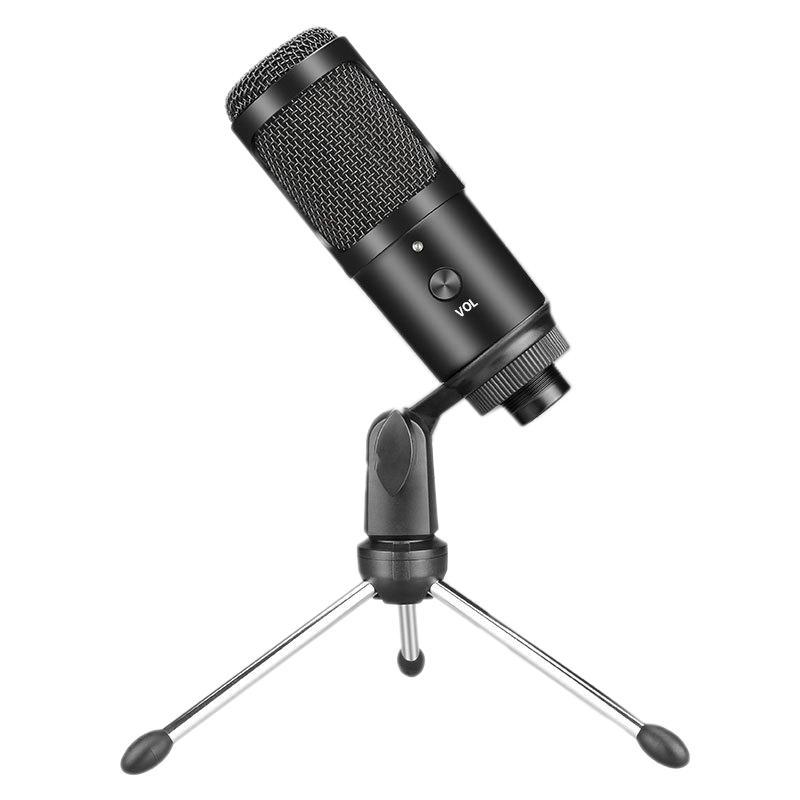 USB Condenser Gaming Microphone for Laptop Windows Studio Recording Built-In Sound Card.