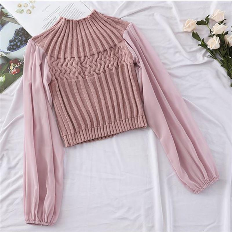 Hot 2021 New Arrival Ladies Knit Stitching Lantern Sleeve Blouse Pullover Female Shirts Women Fashion Clothes