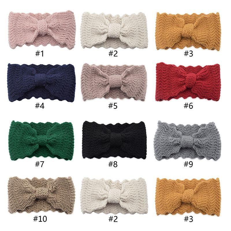 1pc hiver chaleureux oreille tricoté bandeau bow waves élastique bandeau élastique pour femme fille couleur solide turban accessoires de cheveux Head Warp q jllnsq