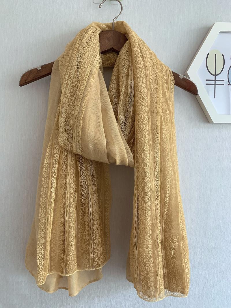 Schals 2021 Klare Spitze Schal Tücher Frauen Schöne lange Baumwolle Strand Hijab Muffer Wrap 10 Farbe