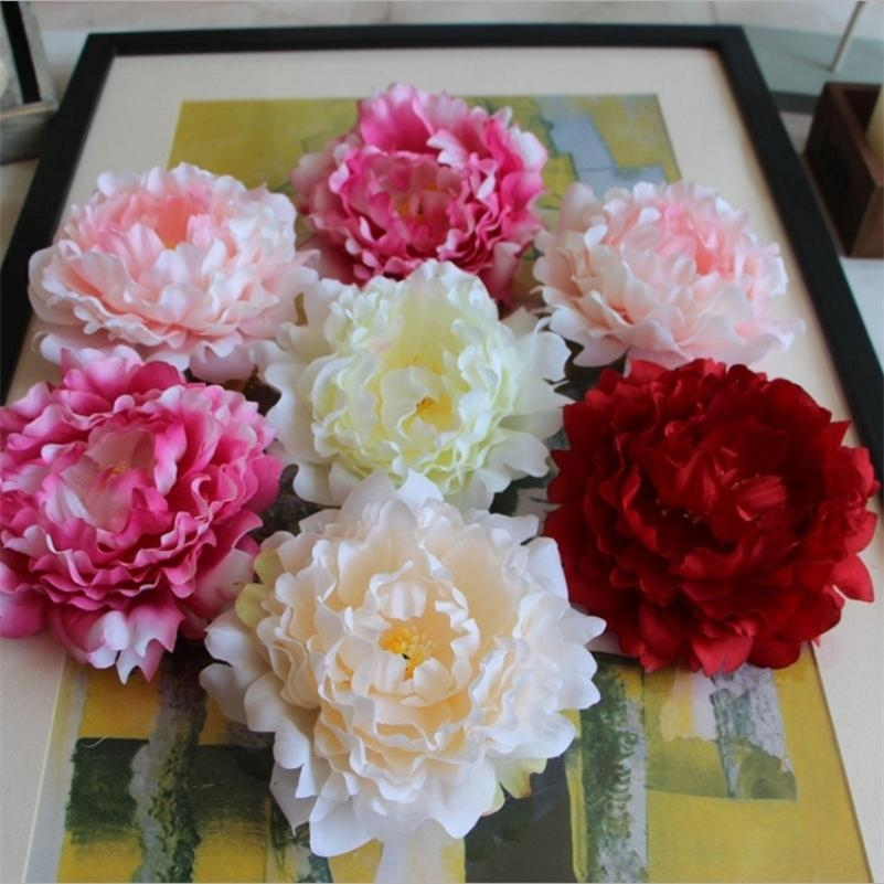 50pcs 14cm Large Artificial Silk Peony Flower Heads For Wedding Christmas Party Decoration DIY Wreath Craft Fake Flowers Wall Y201020