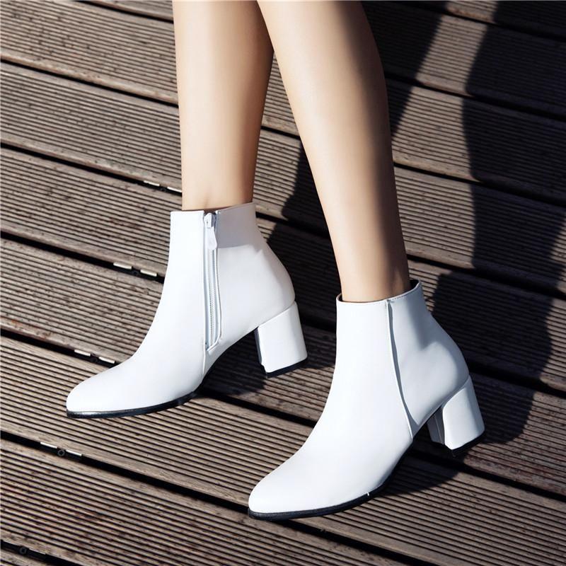 Mode Automne Hiver Femmes Bottes à glissière latérale confortable mi chaussures de talons hauts Bottes femme Toe cheville Zapatos Pointu Mujer 33-43
