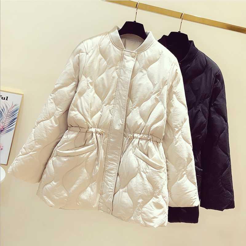 Women's Down & Parkas 2021 Winter Style Korean Version Jacket Temperament Thin Short Women Coat Mock Neck Drawstring Waist Clothes