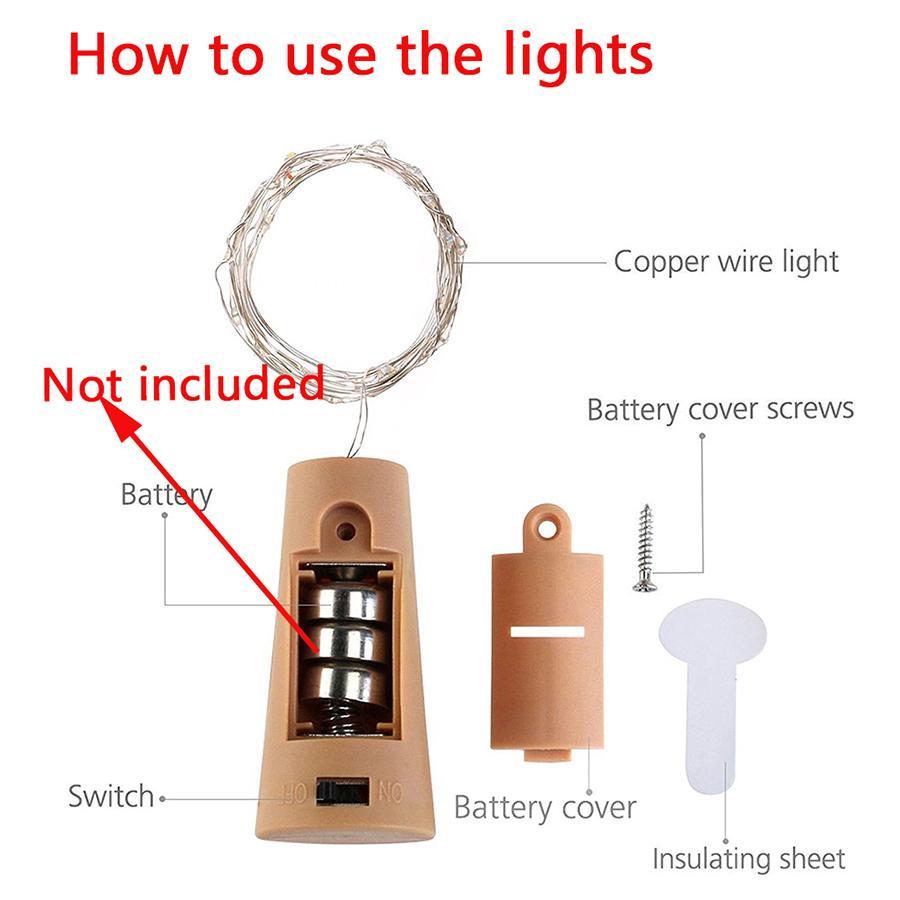 1M 10leds LED Garrafa de Vinho Cork luzes do feriado Luzes Cordas de fio de cobre de Natal para o partido do casamento do jardim Ramadan Decoração