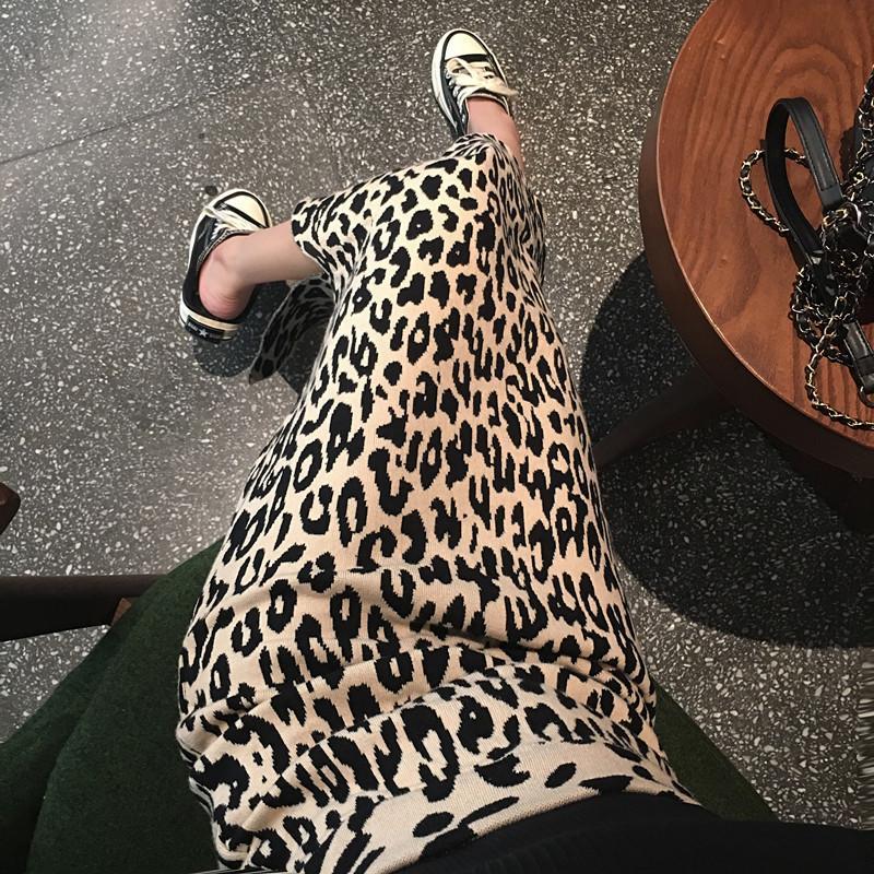 2019 neue Herbst und Winter lange Schlitz Haar Leoparden Weibliche Hohe Taille Strickrock Q1229