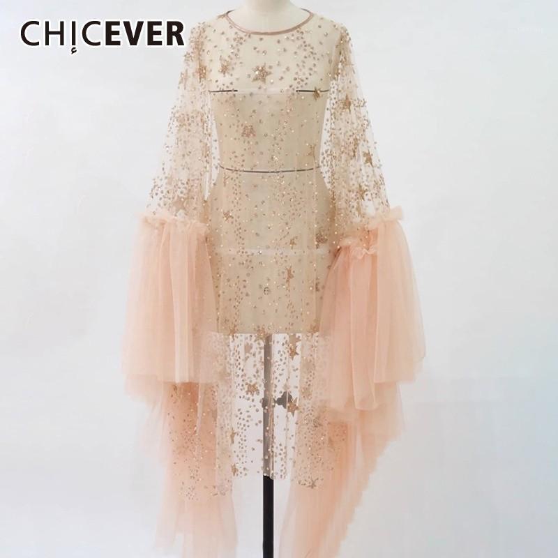 Chicker verão patchwork lantejoulas perspectiva de malha mulheres casaco o pescoço ruffles hem feminino feminino longo roupas pulôver 2019 new1